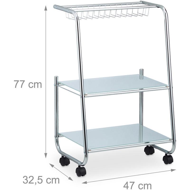 Rollwagen Metall mit 2 Glasablagen, Gitterkorb, schmaler Beistellwagen für  Küche, HxBxT: 77x47x32,5 cm, silber