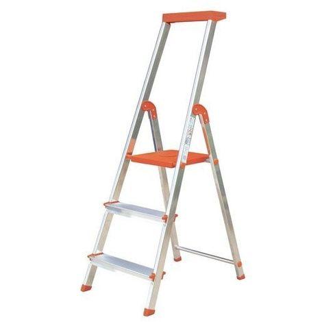Rolser-Escalera aluminio 3 peldaños mandarina