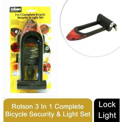 ROLSON 3 in 1 Complete Bicycle Security Lock & Light Set With Bracket + Batteries