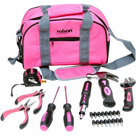 Rolson 36802 25pc Pink Tool Bag Kit