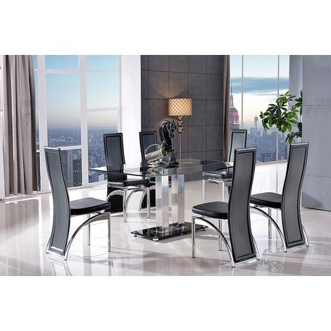Roma Black Glass Dining Table with 4 Alisa Dining Chair [Black]