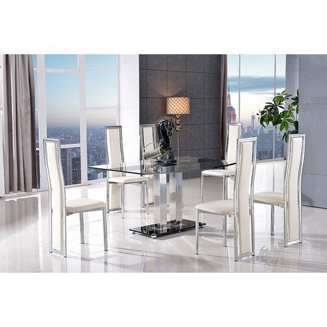 Roma Black Glass Dining Table with 4 Elsa Designer Dining Chairs [Ivory]