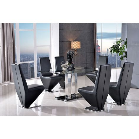 Roma Black Glass Dining Table with 4 Rita Designer Dining Chairs [Black]
