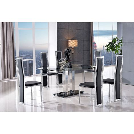 Roma Black Glass Dining Table with 6 Elsa Designer Dining Chairs [Black]