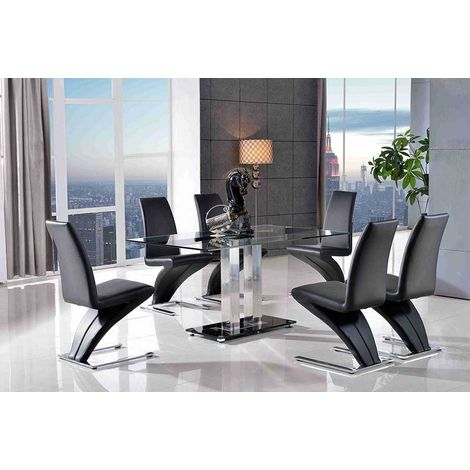 Roma Black Glass Dining Table with 6 Zed Designer Dining Chairs [Black]