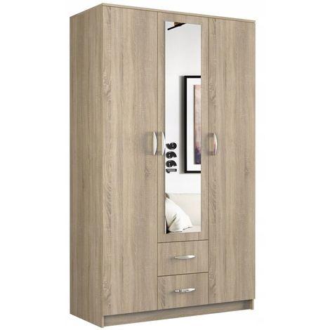 ROMA | Grande Armoire chambre bureau | Penderie multifonctions | 2 portes | Miroir | 2 tiroirs | Meuble de rangement | Etagères | sonoma
