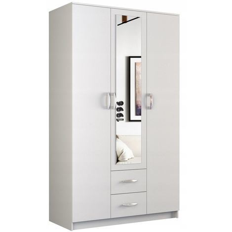 ROMA | Petite Armoire chambre bureau | Penderie multifonctions | 2 portes + Miroir +2 tiroirs | Meuble de rangement Dressing | blanc - blanc