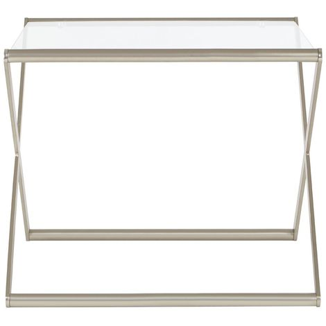 Roma Side Table,Clear Tempered Glass,Satin Nickel
