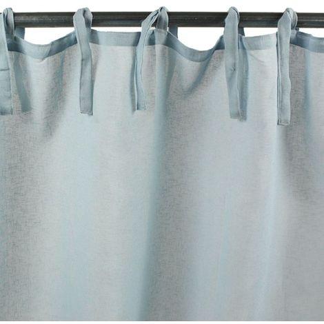 ROMANCE - Voilage à nouettes bleu clair 110x250 - Bleu