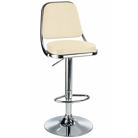 Romano Breakfast Bar Stool Cream Padded Seat, Backrest, Height Adjustable Brown