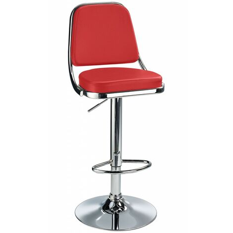 Romano Kitchen Bar Stool Red Padded Seat, Backrest, Height Adjustable Red