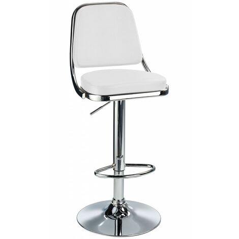 Romano Kitchen Breakfast Bar Stool - White Padded Seat, Height Adjustable White