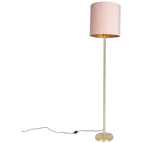 Romantic floor lamp brass with pink shade 40 cm - Simplo