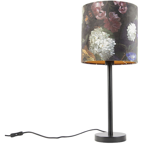 Romantic Table Lamp Black with 25cm Floral Shade - Simplo