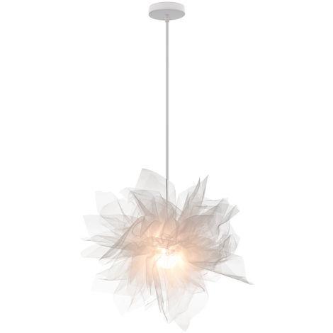 Romántica Colgante de Luz Elegante Lámpara Colgante Organza Lámpara de Techo Gasa Fantasía Moderna para Dormitorio Loft Cafe Blanco