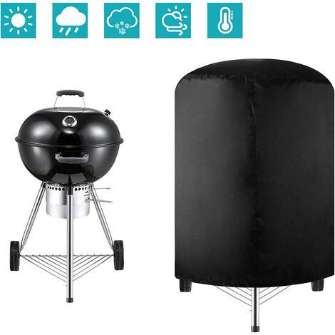 Rond Couverture de Barbecue, Tissu Oxford 420D Barbecue Grill Imperméable, Housse Barbecue Housse Bâche de Protection BBQ Couverture de Gril, Noir (24 * 28.5in)