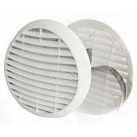 ROND Grille de 100 à 125 mm ABS blanc Ventilation