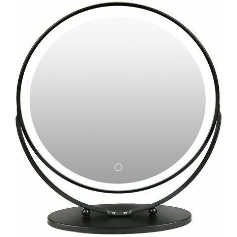 Rond Miroir à cosmétique , miroir à maquillage lumineux, pivotant 50*50cm , 6500k , Gradable en trois couleurs