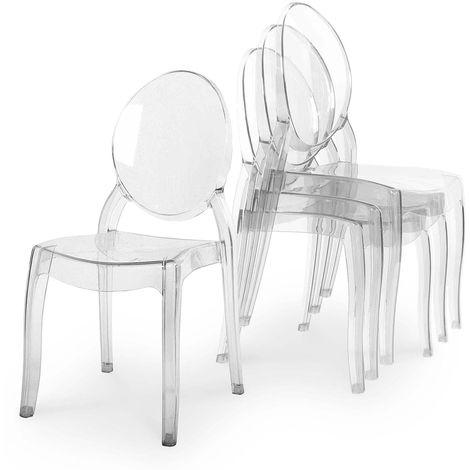 RONDA - Lot de 4 chaises transparentes en plexi