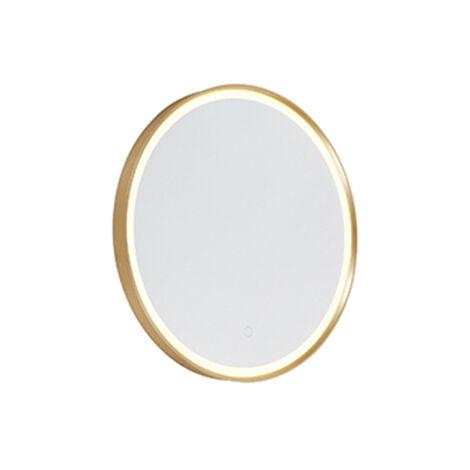 Ronde badkamerspiegel goud met touchdimmer incl. LED - Miral Qazqa Moderne Luminaire interieur IP44