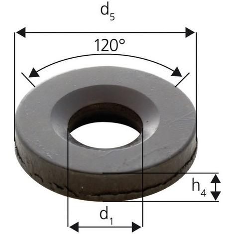 Rondelle à rotule concave forme G, Pour vis : M12, Ø d'alésage d1 14,2 mm, Ø extérieur d5 35 mm, Hauteur h4 : 5 mm, Rayon (r) : 17 mm