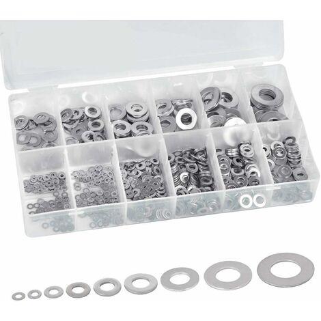 Rondelle Plate Acier Inoxydable, Kit d'Assortiment de Rondelle, Large Rondelles Petites, M2/2,5/3/4/5/6/8/10/12 - Rondelles Métal avec Boite en Plastique pour Bricolage, Mécanique