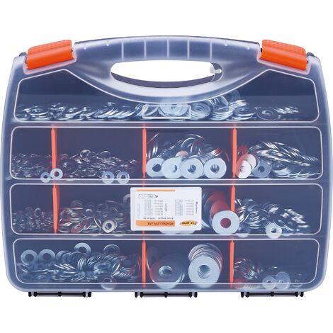 Rondelle plate large et moyenne - Acier zingué - Coffret de 1020 pièces - Transparent