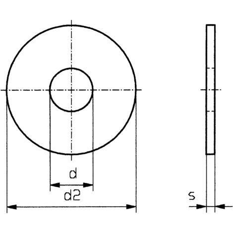 Rondelle TOOLCRAFT 6,4 D9021-A2K 189011 N/A Ø intérieur: 6.4 mm M6 acier galvanisé 100 pc(s) S59624