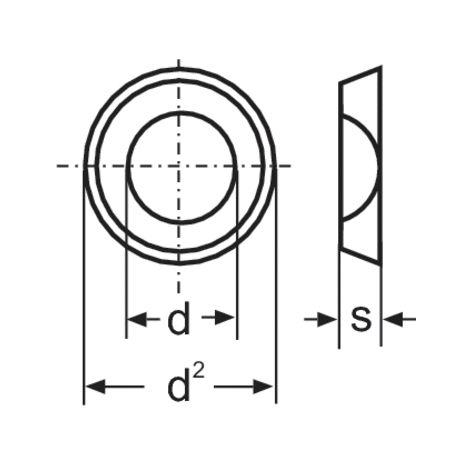 RONDELLES TOOLCRAFT A4,3 D125:A2K 194699 DIN 125 Ø INTÉRIEUR: 4.3 MM M4 ACIER GALVANISÉ 100 PC(S)