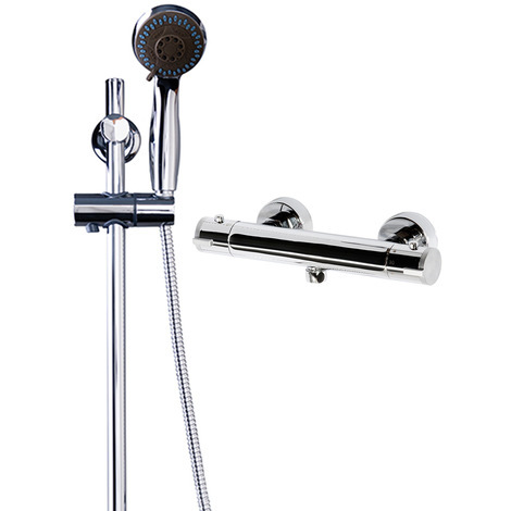 Rondi Thermostatic Bar Valve Mixer Shower With Clyde Slide Rail Kit