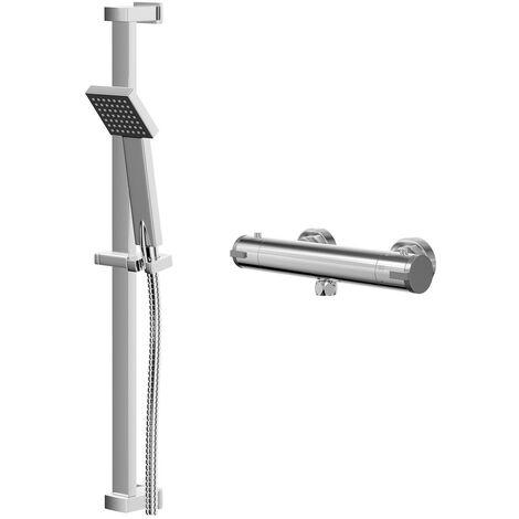 Rondi Thermostatic Bar Valve Mixer Shower With Thames Slide Rail Kit