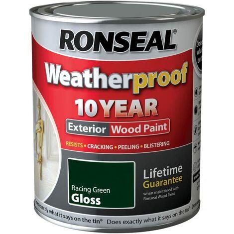 Ronseal 10 Year Weatherproof Paint Gloss Racing Green 750ml