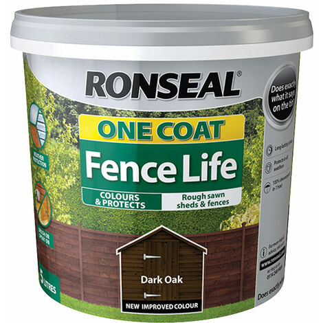 Ronseal 38288 One Coat Fence Life Dark Oak 5 litre