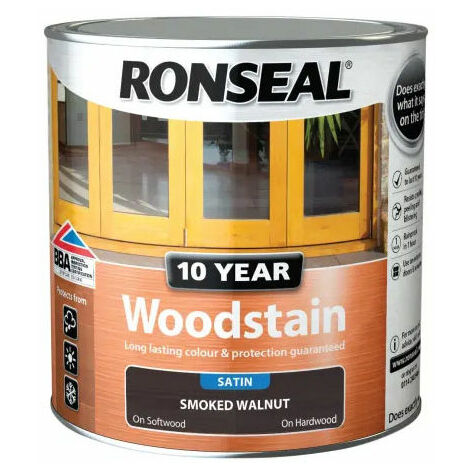 Ronseal 38689 10 Year Woodstain Smoked Walnut 2.5 Litre