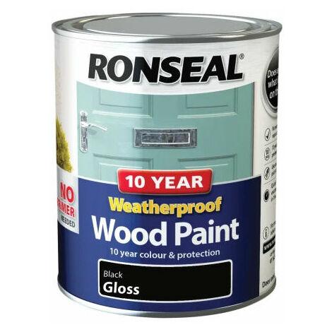 Ronseal 38772 10 Year Weatherproof 2-in-1 Wood Paint Black Gloss 750ml