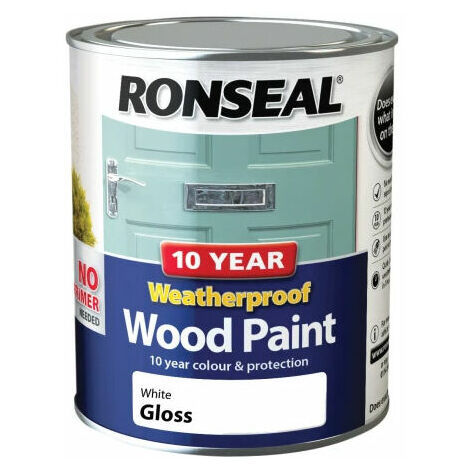 Ronseal 38773 10 Year Weatherproof 2-in-1 Wood Paint White Gloss 750ml