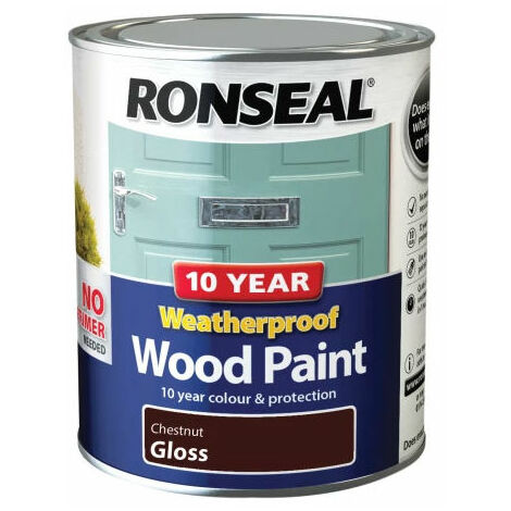 Ronseal 38775 10 Year Weatherproof 2-in-1 Wood Paint Chestnut Gloss 750ml