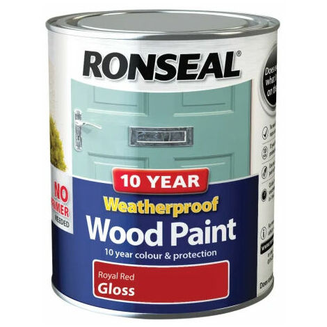 Ronseal 38776 10 Year Weatherproof 2-in-1 Wood Paint Royal Red Gloss 750ml