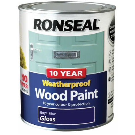Ronseal 38777 10 Year Weatherproof 2-in-1 Wood Paint Royal Blue Gloss 750ml