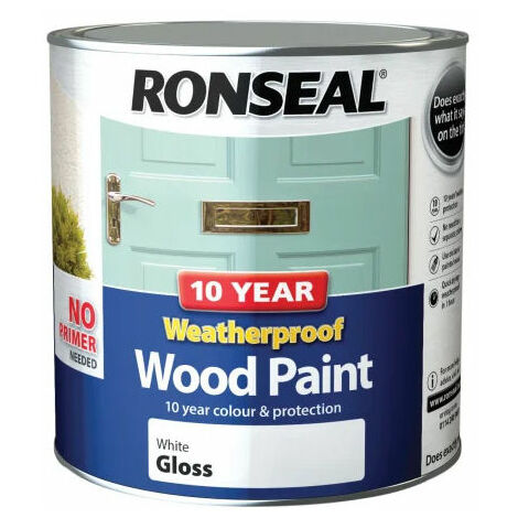 Ronseal 38782 10 Year Weatherproof 2-in-1 Wood Paint White Gloss 2.5 Litre