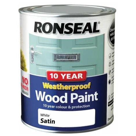 Ronseal 38787 10 Year Weatherproof 2-in-1 Wood Paint White Satin 750ml
