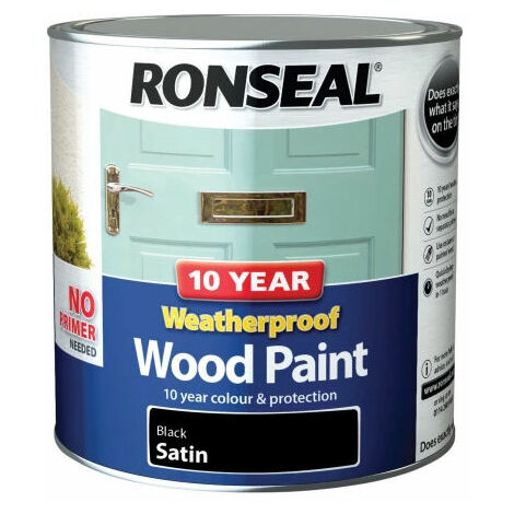 Ronseal 38794 10 Year Weatherproof 2-in-1 Wood Paint Black Satin 2.5 Litre