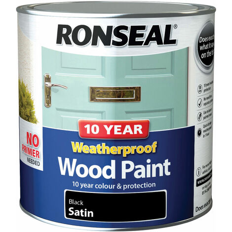 "main image of ""Ronseal 38794 10 Year Weatherproof Wood Paint Black Satin 2.5 litre"""