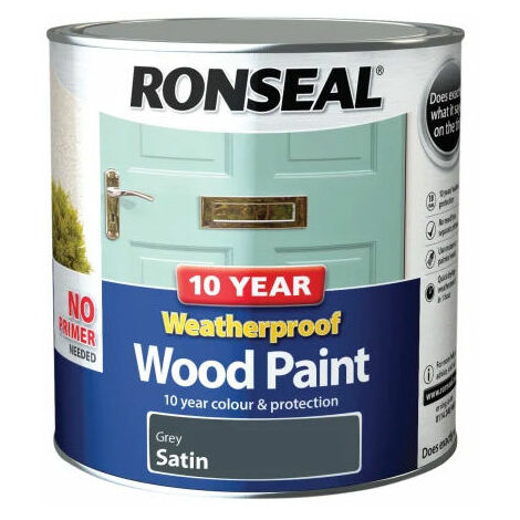 Ronseal 38796 10 Year Weatherproof 2-in-1 Wood Paint Grey Satin 2.5 Litre