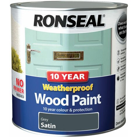 Ronseal 38796 10 Year Weatherproof Wood Paint Grey Satin 2.5 litre