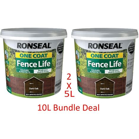Ronseal 5L One Coat Fence Life Fence Paint Bundle Deal 2 for £22.95-2 x 5L Tubs = 10L - Dark Oak
