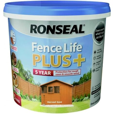 Ronseal 9L Fence Life Plus Garden Shed & Fence Paint UV Potection-All Colours 9L (Dark Oak)