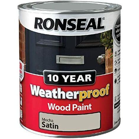 Ronseal ASINOAUK30K 10 Year Weatherproof Paint, Mocha Satin, 750ml