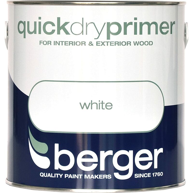 Image of Berger Brilliant White Quick Drying Primer Paint - 2.5L Litre
