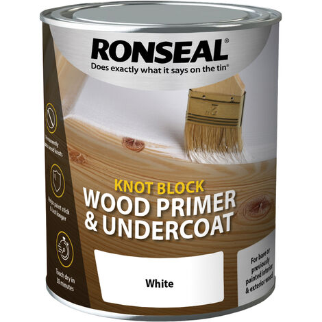 Ronseal Knot Block Wood Primer and Undercoat - White - 750ml